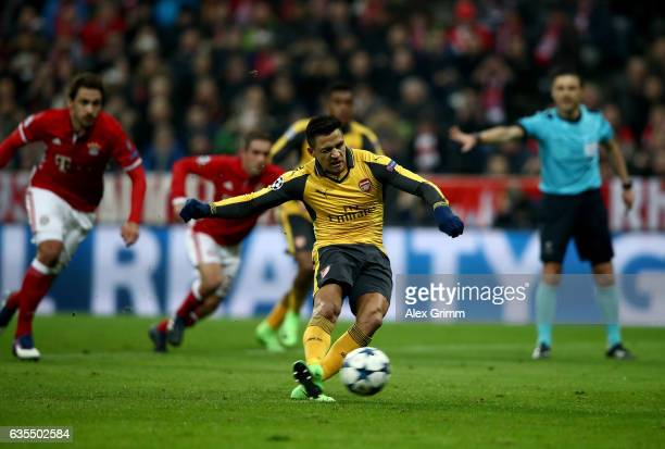 Alexis Sanchez of Arsenal fails to score the equalizing goal by penalty shot during the UEFA Champions League Round of 16 first leg match between FC...