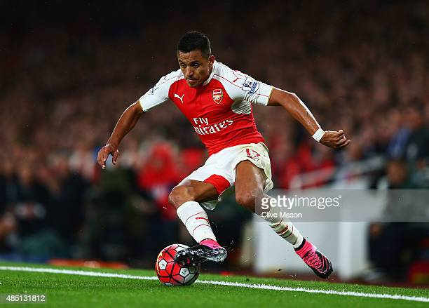 Alexis Sanchez of Arsenal in action during the Barclays Premier League match between Arsenal and Liverpool at Emirates Stadium on August 24 2015 in...