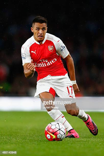Alexis Sanchez of Arsenal in action during the Barclays Premier League match between Arsenal and Liverpool at the Emirates Stadium on August 24 2015...
