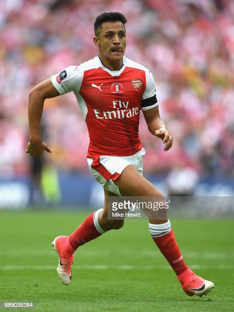 Alexis Sanchez of Arsenal in action during The Emirates FA Cup Final between Arsenal and Chelsea at Wembley Stadium on May 27 2017 in London England