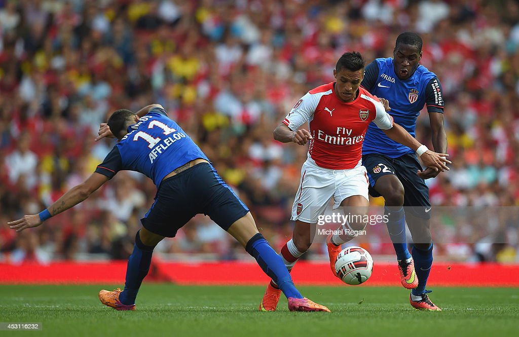 <a gi-track='captionPersonalityLinkClicked' href=/galleries/search?phrase=Alexis+Sanchez&family=editorial&specificpeople=5515162 ng-click='$event.stopPropagation()'>Alexis Sanchez</a> of Arsenal in action with Geoffrey Kondogbia and <a gi-track='captionPersonalityLinkClicked' href=/galleries/search?phrase=Lucas+Ocampos&family=editorial&specificpeople=7038727 ng-click='$event.stopPropagation()'>Lucas Ocampos</a> of Monaco during the Emirates Cup match between Arsenal and AS Monaco at the Emirates Stadium on August 3, 2014 in London, England.