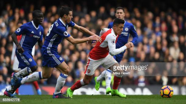 Alexis Sanchez of Arsenal is challenged by Cesar Azpilicueta of Chelsea during the Premier League match between Chelsea and Arsenal at Stamford...