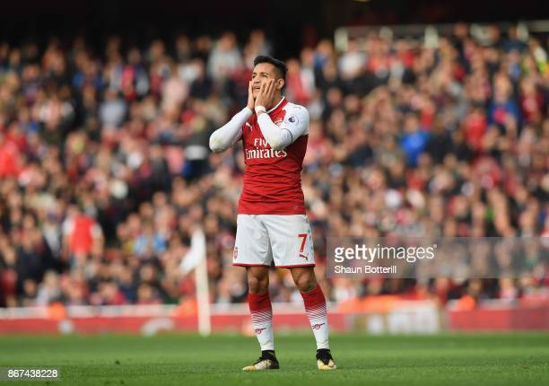 Alexis Sanchez of Arsenal looks dejected during the Premier League match between Arsenal and Swansea City at Emirates Stadium on October 28 2017 in...