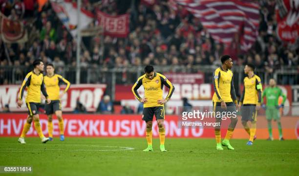 Alexis Sanchez of Arsenal looks dejected during the UEFA Champions League Round of 16 first leg match between FC Bayern Muenchen and Arsenal FC at...