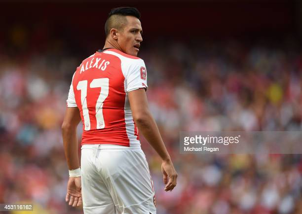 Alexis Sanchez of Arsenal looks on during the Emirates Cup match between Arsenal and AS Monaco at the Emirates Stadium on August 3 2014 in London...