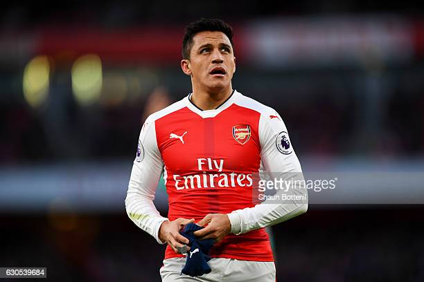 Alexis Sanchez of Arsenal looks on during the Premier League match between Arsenal and West Bromwich Albion at Emirates Stadium on December 26 2016...