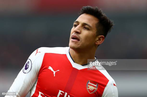 Alexis Sanchez of Arsenal looks on during the Premier League match between Arsenal and Hull City at Emirates Stadium on February 11 2017 in London...