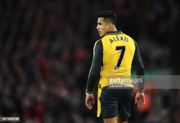 Alexis Sanchez of Arsenal looks on during the Premier League match between Liverpool and Arsenal at Anfield on March 4 2017 in Liverpool England