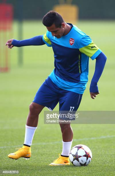 Alexis Sanchez of Arsenal on the ball during a Arsenal Training Session ahead of their Champions League fixture against Borussia Dortmund on...
