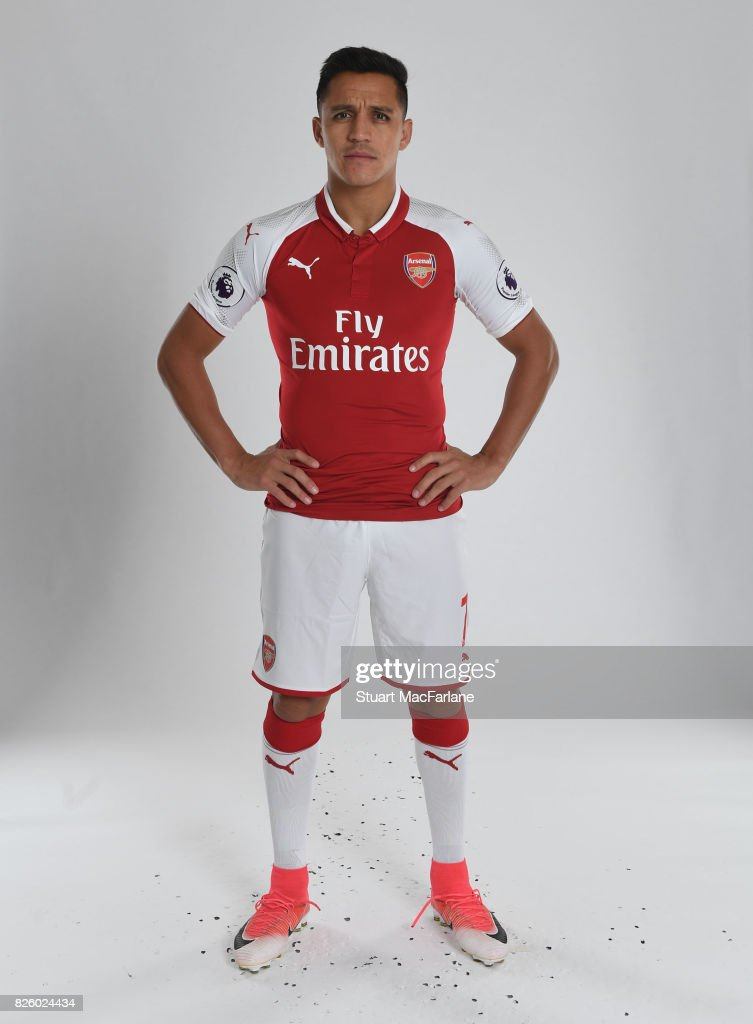 Alexis Sanchez of Arsenal poses in a first team photocall at Emirates Stadium on August 3, 2017 in London, England.