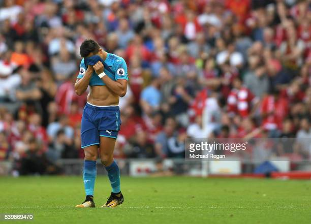 Alexis Sanchez of Arsenal reacts during the Premier League match between Liverpool and Arsenal at Anfield on August 27 2017 in Liverpool England