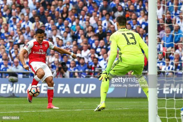 Alexis Sanchez of Arsenal scores a goal to make it 10 during the Emirates FA Cup Final match between Arsenal and Chelsea at Wembley Stadium on May 27...