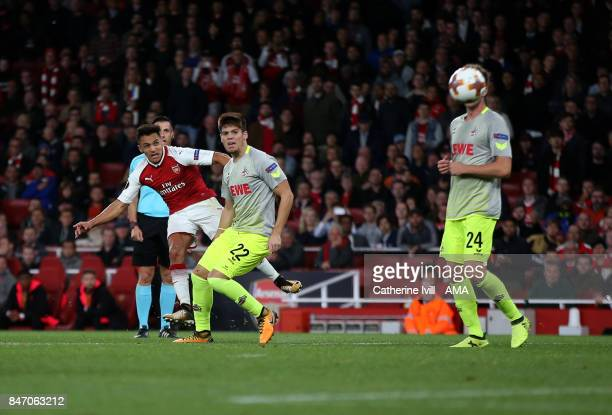 Alexis Sanchez of Arsenal scores a goal to make it 21 during the UEFA Europa League group H match between Arsenal FC and 1 FC Koeln at Emirates...