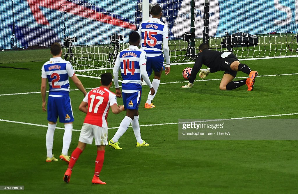 <a gi-track='captionPersonalityLinkClicked' href=/galleries/search?phrase=Alexis+Sanchez&family=editorial&specificpeople=5515162 ng-click='$event.stopPropagation()'>Alexis Sanchez</a> of Arsenal scores his second goal past <a gi-track='captionPersonalityLinkClicked' href=/galleries/search?phrase=Adam+Federici&family=editorial&specificpeople=886953 ng-click='$event.stopPropagation()'>Adam Federici</a> of Reading during extra time in the FA Cup Semi-Final match between Arsenal and Reading at Wembley Stadium on April 18, 2015 in London, England.