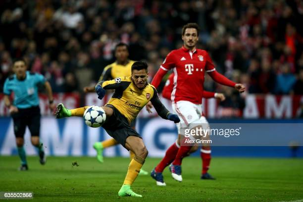 Alexis Sanchez of Arsenal shoots at goal after he fails to score the equalizing goal by penalty shot during the UEFA Champions League Round of 16...