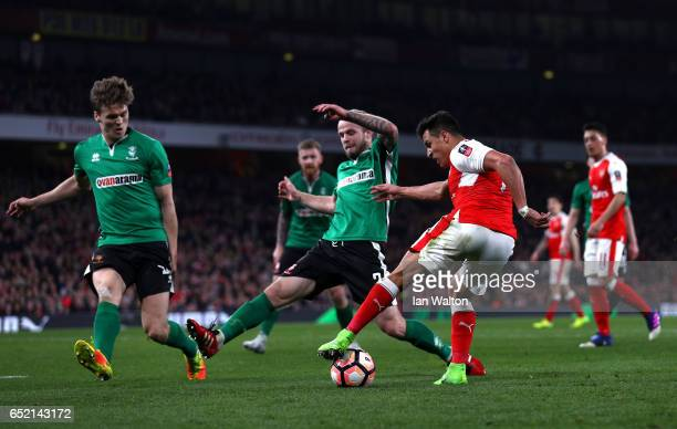 Alexis Sanchez of Arsenal shoots during The Emirates FA Cup QuarterFinal match between Arsenal and Lincoln City at Emirates Stadium on March 11 2017...