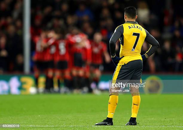 Alexis Sanchez of Arsenal shows his dejection after AFC Bournemouth's second goal during the Premier League match between AFC Bournemouth and Arsenal...