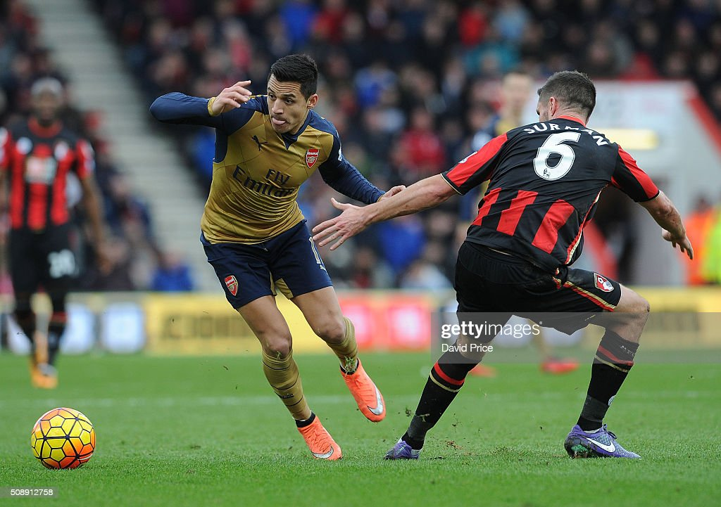 <a gi-track='captionPersonalityLinkClicked' href=/galleries/search?phrase=Alexis+Sanchez&family=editorial&specificpeople=5515162 ng-click='$event.stopPropagation()'>Alexis Sanchez</a> of Arsenal takes on andrew Surman of Bournemouth during the Barclays Premier League match between AFC Bournemouth and Arsenal at The Vitality Stadium, Bournemouth 7th February 2016.
