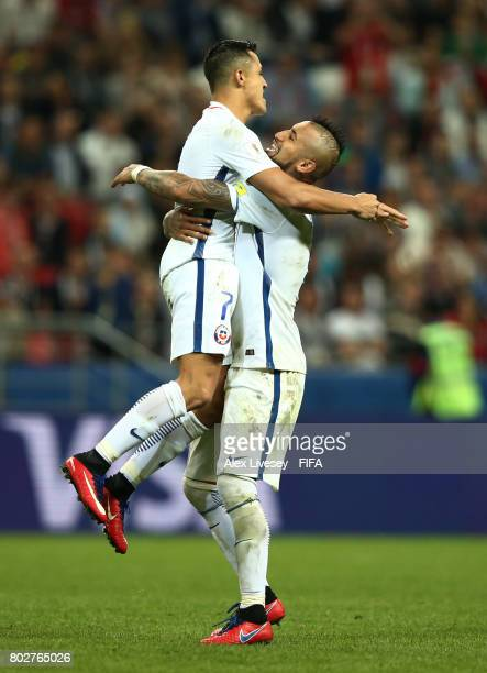 Alexis Sanchez of Chile and Arturo Vidal of Chile celebrate after their penalty shoot out win after the FIFA Confederations Cup Russia 2017 SemiFinal...
