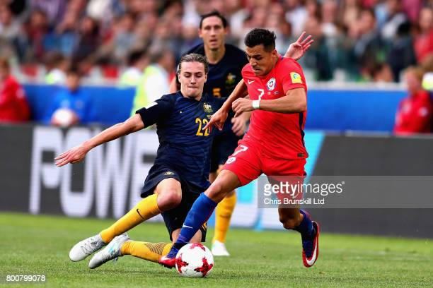 Alexis Sanchez of Chile and Jackson Irvine of Australia in action during the FIFA Confederations Cup Russia 2017 Group B match between Chile and...