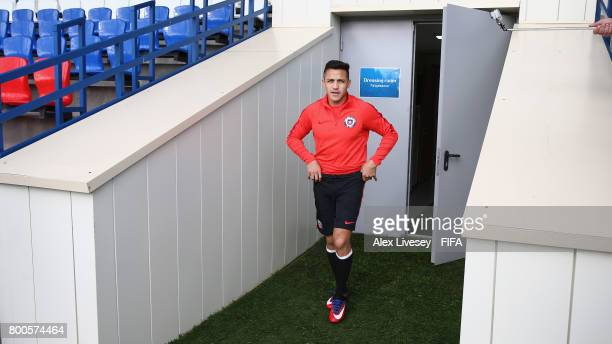 Alexis Sanchez of Chile arrives for a training session at the Strogino Training Ground during the FIFA Confederations Cup Russia 2017 on June 24 2017...