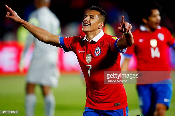 Alexis Sanchez of Chile celebrates after scoring the second goal of his team during a match between Chile and Brasil as a part of FIFA 2018 World Cup...