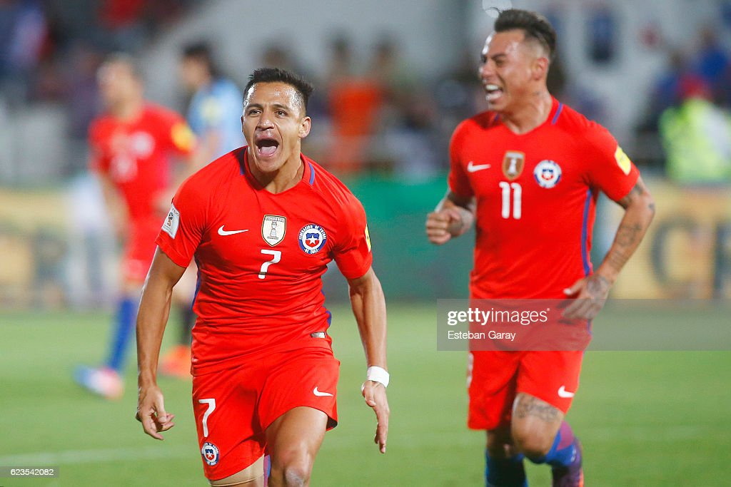 Alexis Sanchez of Chile celebrates after scoring the second goal of his team during a match between Chile and Uruguay as a part of FIFA 2018 World Cup Qualifier at Nacional Julio Martinez Pradanos Stadium on November 15, 2016, in Santiago, Chile.