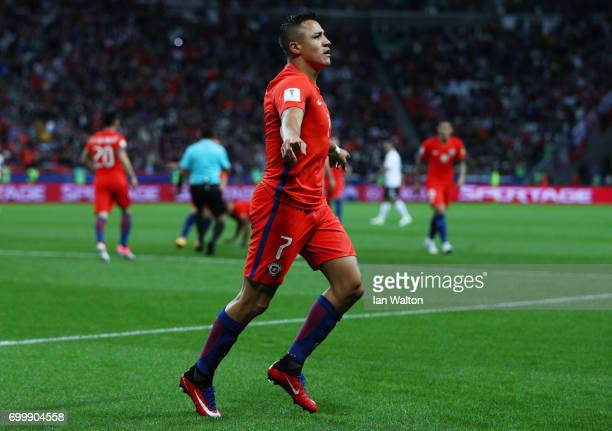 Alexis Sanchez of Chile celebrates scoring his sides first goal during the FIFA Confederations Cup Russia 2017 Group B match between Germany and...