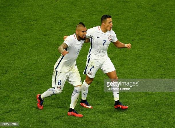 Alexis Sanchez of Chile celebrates scoring his sides third goal with Arturo Vidal of Chile during the FIFA Confederations Cup Russia 2017 SemiFinal...
