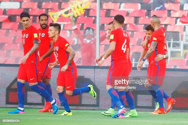 Alexis Sanchez of Chile celebrates after scoring the first goal of his team during a match between Chile and Venezuela as a part of FIFA 2018 World...