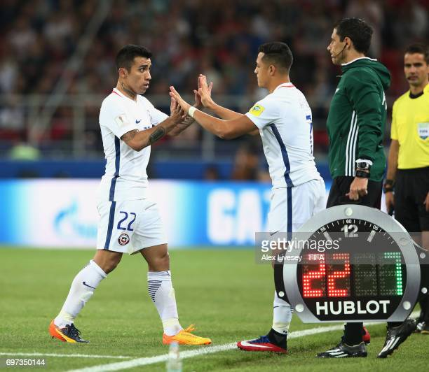 Alexis Sanchez of Chile comes on for Edson Puch of Chile during the FIFA Confederations Cup Russia 2017 Group B match between Cameroon and Chile at...