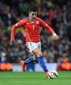 Alexis Sanchez of Chile during the International Friendly match between Brazil and Chile at Emirates Stadium on March 29 2015 in London England