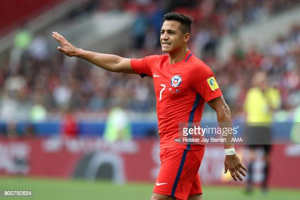Alexis Sanchez of Chile gestures during the FIFA Confederations Cup Russia 2017 Group B match between Chile and Australia at Spartak Stadium on June...