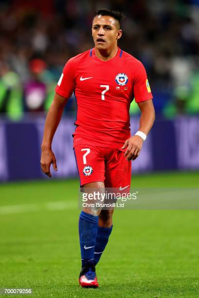 Alexis Sanchez of Chile in action during the FIFA Confederations Cup Russia 2017 Group B match between Germany and Chile at Kazan Arena on June 22...