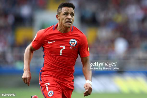 Alexis Sanchez of Chile in action during the FIFA Confederations Cup Russia 2017 Group B match between Chile and Australia at Spartak Stadium on June...
