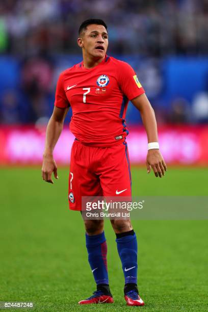 Alexis Sanchez of Chile in action during the FIFA Confederations Cup Russia 2017 Final match between Chile and Germany at Saint Petersburg Stadium on...