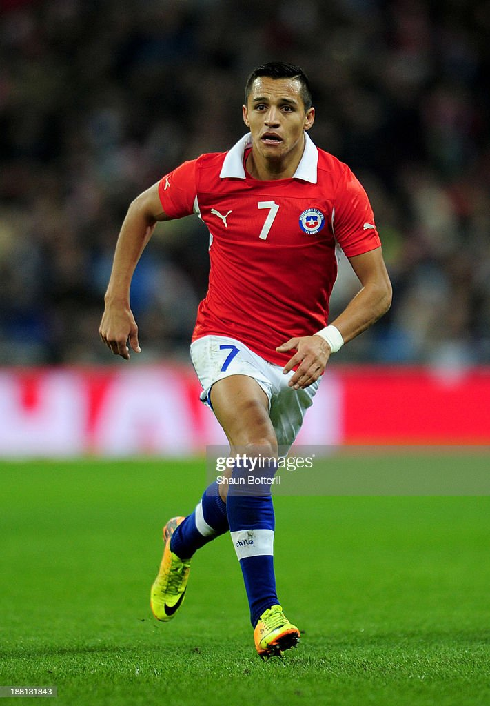 Alexis Sanchez of Chile in action during the international friendly match between England and Chile at Wembley Stadium on November 15 2013 in London...