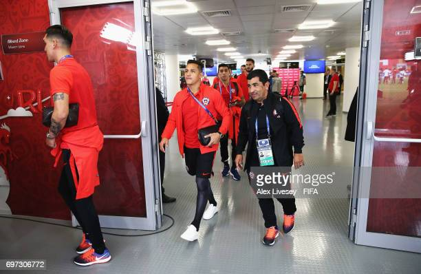 Alexis Sanchez of Chile is seen on arrival at the stadium during the FIFA Confederations Cup Russia 2017 Group B match between Cameroon and Chile at...