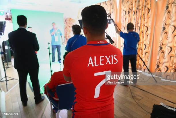 Alexis Sanchez of Chile looks on behind the scenes during a filming session ahead of the FIFA Confederations Cup Russia 2017 at the Crowne Plaza...