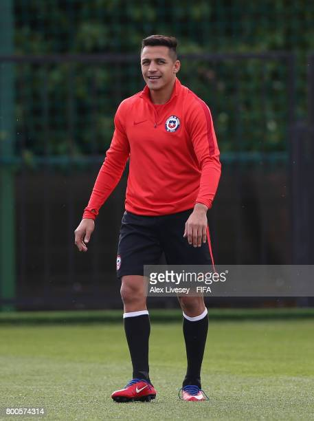 Alexis Sanchez of Chile looks on during a training session at the Strogino Training Ground during the FIFA Confederations Cup Russia 2017 on June 24...