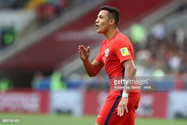 Alexis Sanchez of Chile looks on during the FIFA Confederations Cup Russia 2017 Group B match between Chile and Australia at Spartak Stadium on June...