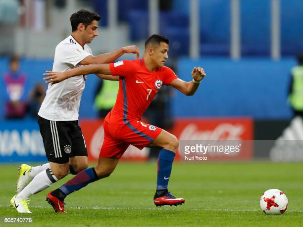 Alexis Sanchez of Chile national team and Lars Stindl of Germany national team during FIFA Confederations Cup Russia 2017 final match between Chile...