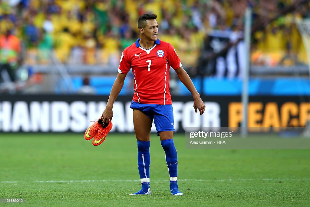 Alexis Sanchez of Chile reacts after the defeat in the 2014 FIFA World Cup Brazil Round of 16 match between Brazil and Chile at Estadio Mineirao on June 28, 2014 in Belo Horizonte, Brazil.
