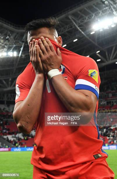 Alexis Sanchez of Chile reacts after the FIFA Confederations Cup Russia 2017 Group B match between Germany and Chile at Kazan Arena on June 22 2017...