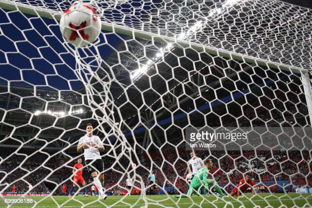 Alexis Sanchez of Chile scores his sides first goal past MarcAndre ter Stegen of Germany during the FIFA Confederations Cup Russia 2017 Group B match...