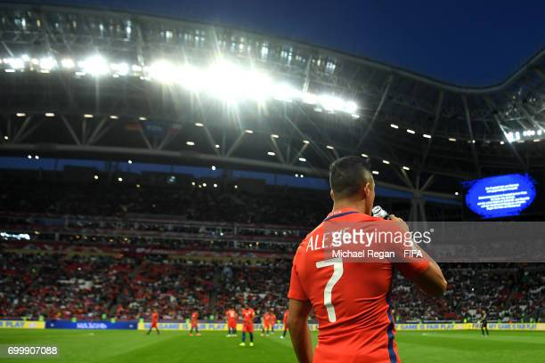 Alexis Sanchez of Chile takes on some water during the FIFA Confederations Cup Russia 2017 Group B match between Germany and Chile at Kazan Arena on...