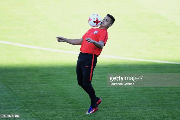 Alexis Sanchez of Chile takes part in a Chile training session during the FIFA Confederations Cup Russia 2017 at Central Stadium on June 27 2017 in...