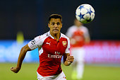 Alexis Sanchez of Londons runs with the ball during the UEFA Champions League Group F match between Dinamo Zagreb and Arsenal at Maksimir Stadium on...