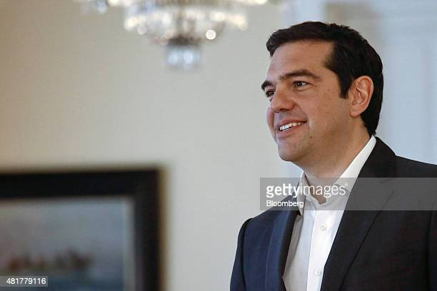 Alexis Tsipras Greece's prime minister arrives at the presidential palace to attend a meeting with the Greek president and leaders of Greek political...