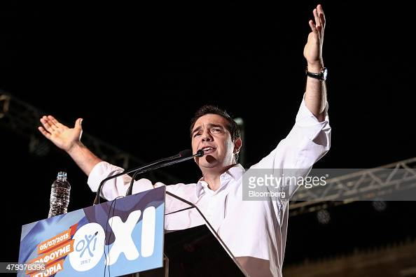 Alexis Tsipras Greece's prime minister delivers speaks to supporters during a 'No' rally against accepting bailout conditions on Syntagma Square in...